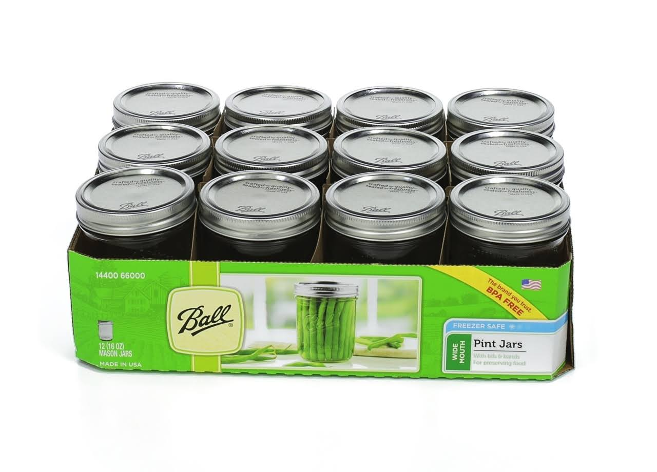 Ball Mason Wide-Mouth Can or Freeze Jars - 16oz, 12 Pack
