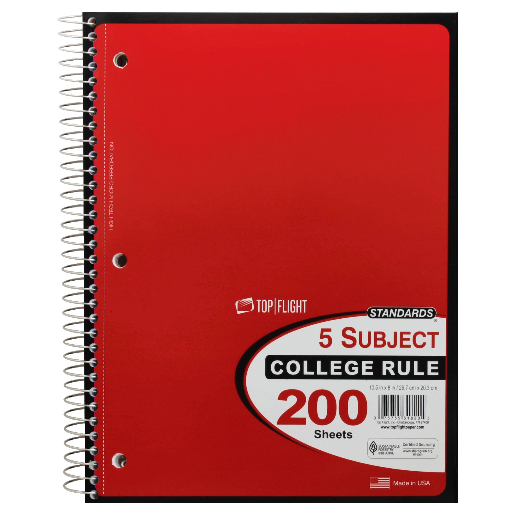 Top Flight Standards Notebook, 5 Subject, College Rule, 200 Sheets