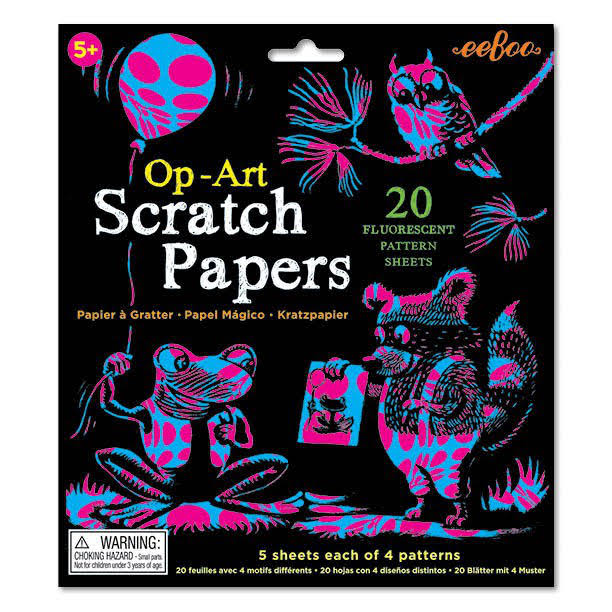 Eebo Op-Art Scratch Papers - 20 Fluorescent Pattern Sheets