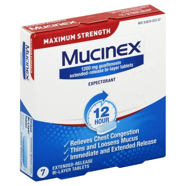 Mucinex Expectorant, 12 Hour, Maximum Strength, 1200 mg, Extended-Release Bi-Layer Tablets - 7 tablets