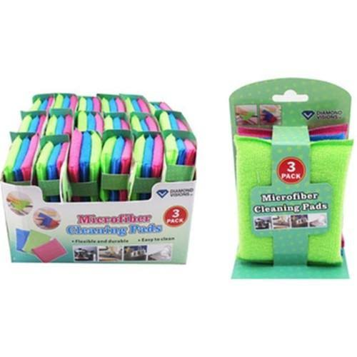 3 Pack Microfiber Cleaning Pads - Case of 36,