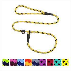 Mendota Products Small Slip Checkered Dog Lead, Black Ice Yellow, 6-ft