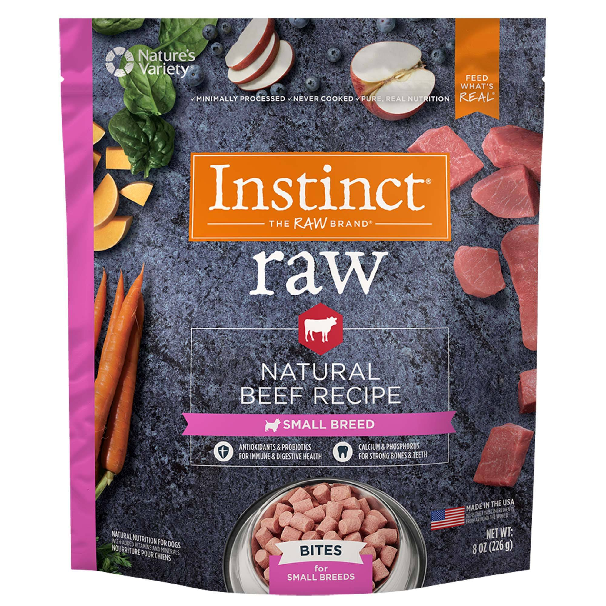 Instinct by Nature's Variety Raw Frozen Small Breed Beef Recipe Bites 8 oz | Dog Food