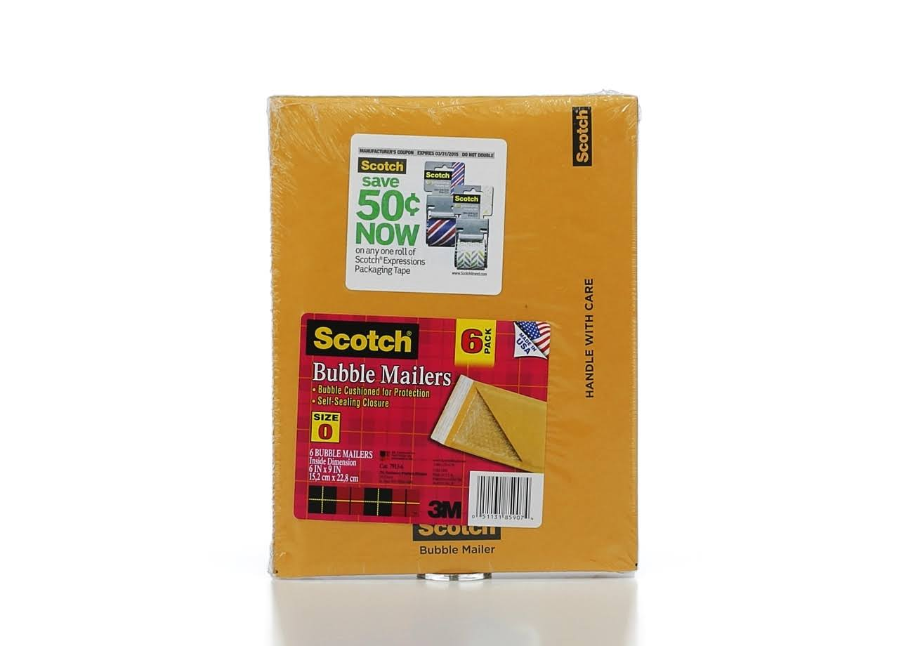 "Scotch Bubble Mailer - 6""x9"", 6pk"