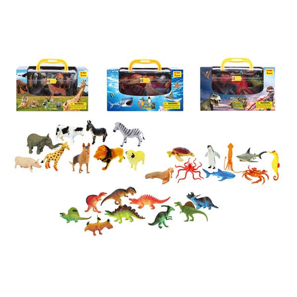 DDI 2339821 Toy Animals with Carrying Case Assorted Color - Case of 24