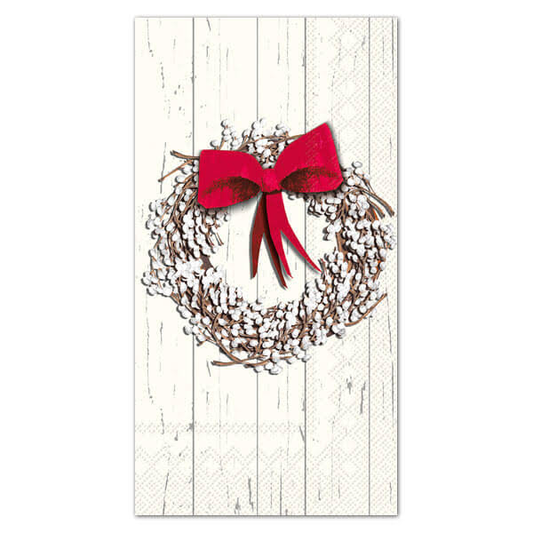 Boston International ihr White Berry Holiday Wreath Paper Guest Towels