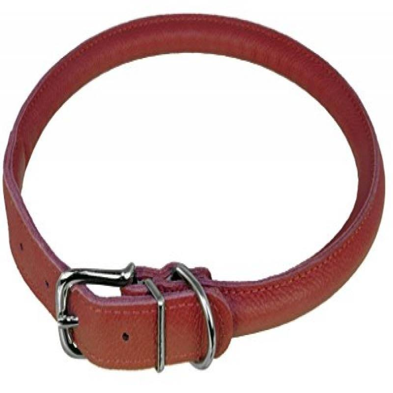 Dogline Rolled Round Leather Dog Collar - Soft and Padded, Red