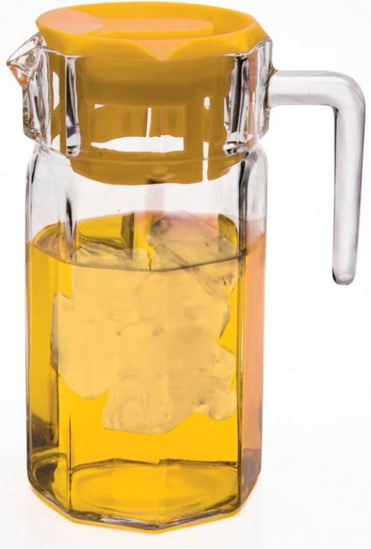 Circleware Lodge Glass Beverage Drink Pitcher - Yellow Plastic Lid, 50oz