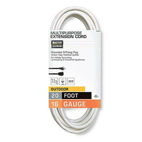 Master Electrician Outdoor Extension Cord - White, 20'