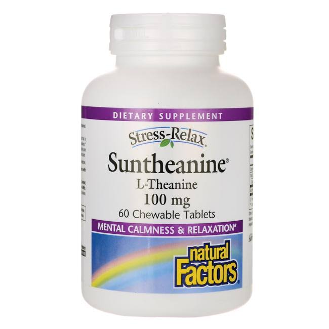 Natural Factors Stress-Relax - Suntheanine L-Theanine, 60 Chewable Tablets