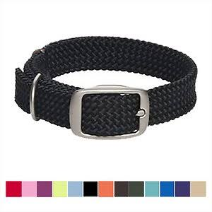 Mendota Products Double Braid Dog Collar, Black, 24-In