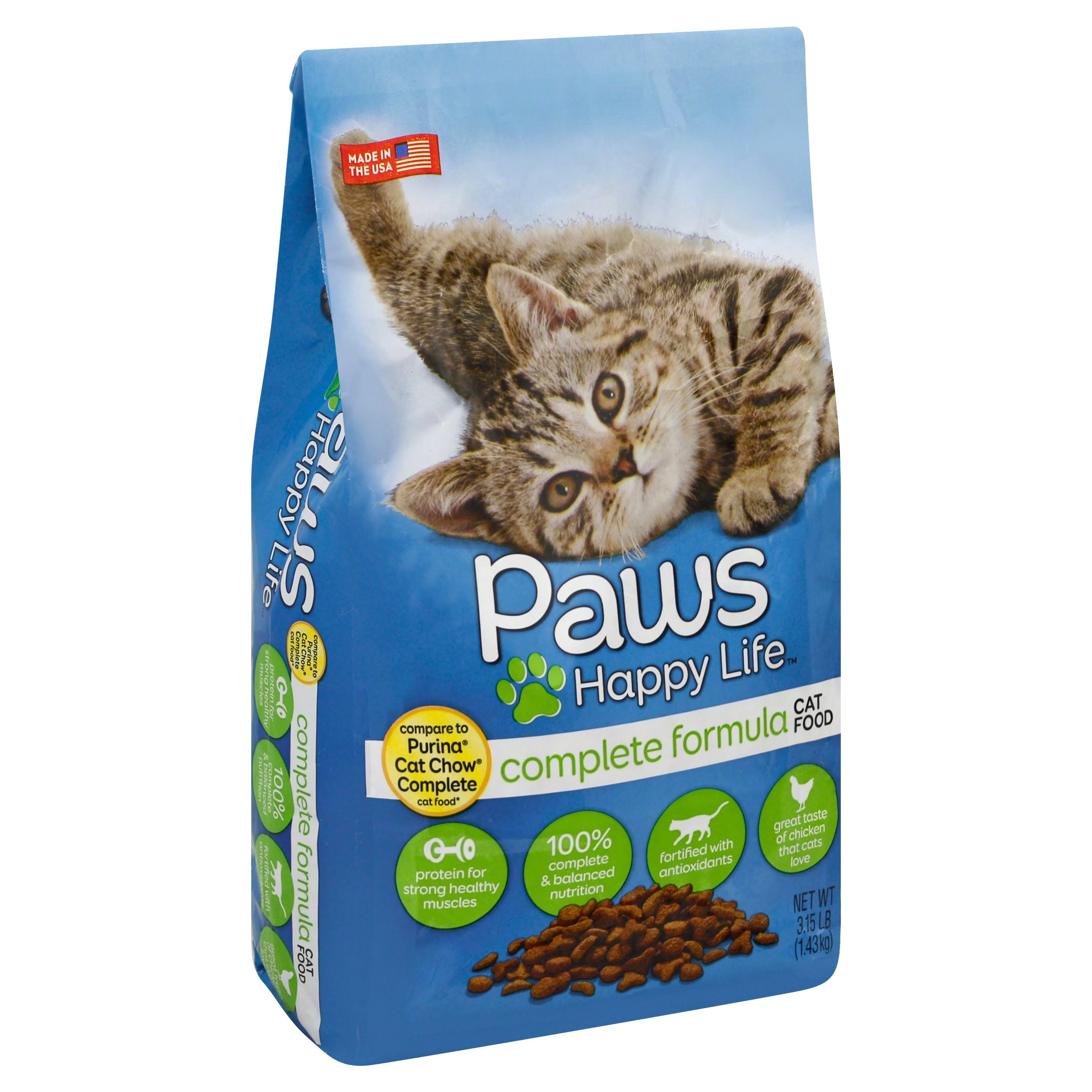 Paws Happy Life Cat Food, Complete Formula - 3.15 lb