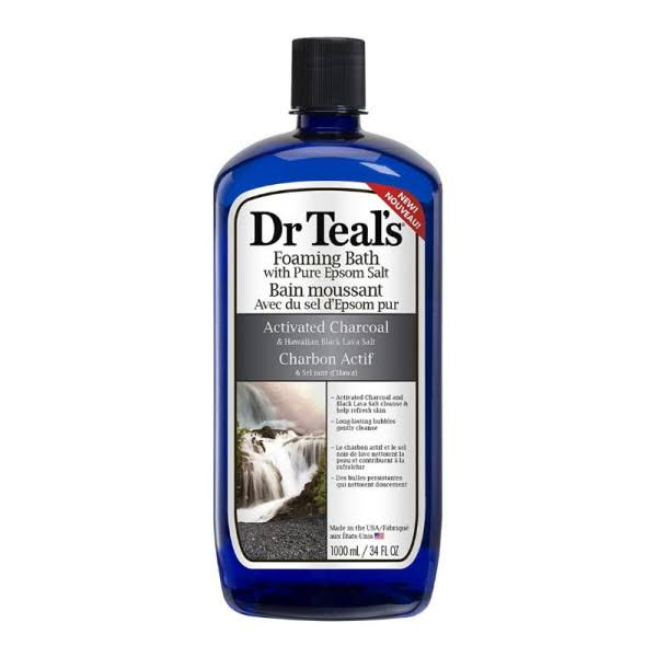 Dr Teal's Activated Charcoal and Lava Foaming Bath - with Pure Epsom Salt, 34oz