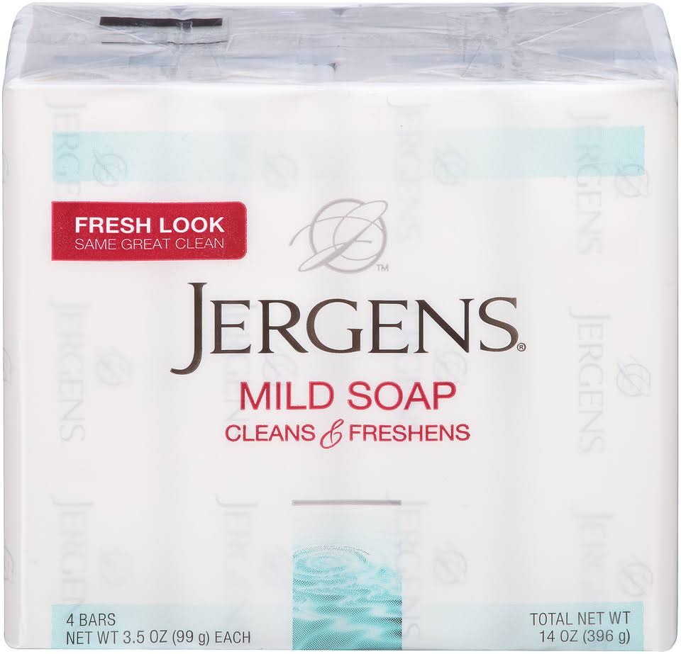 Jergens Cleans and Freshens Mild Soap Bars - 3.5oz, 4ct, Pack of 6