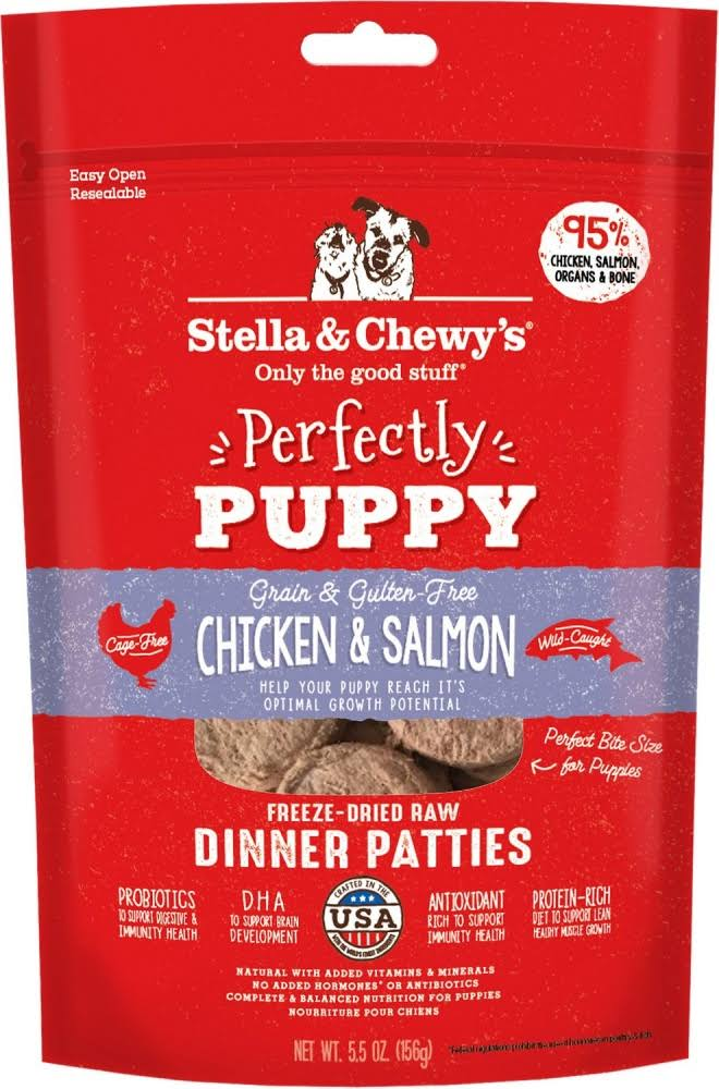Stella Chewy's Perfectly Puppy Freeze Dried Raw Chicken & Salmon Dinner Patties Grain Free Dog Food - 14 oz