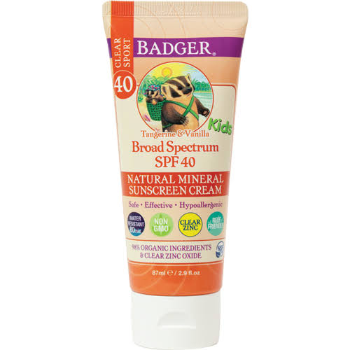 Badger Clear Sport Sunscreen, Tangerine & Vanilla, Kids, Cream, SPF 40 - 87 ml