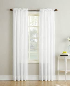 "No. 918 Erica Crushed Texture Sheer Voile Curtain Panel, 51"" x 84"", White"