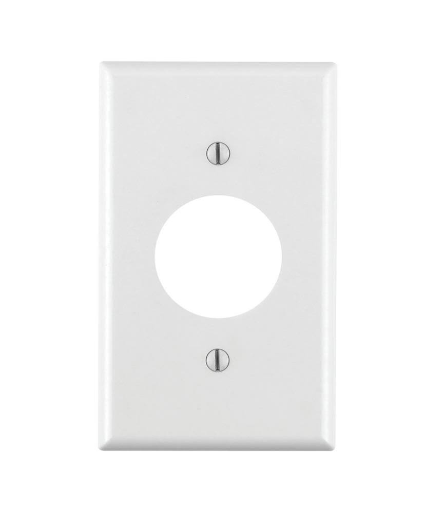 Leviton 88004 1-Gang Single 1.406-Inch Hole Device Receptacle Wallplate - Thermoset, White, Standard Size