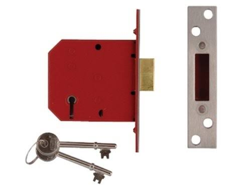 Union 5 Lever Mortice Deadlock - Brass Finish, 79.5mm x 3""