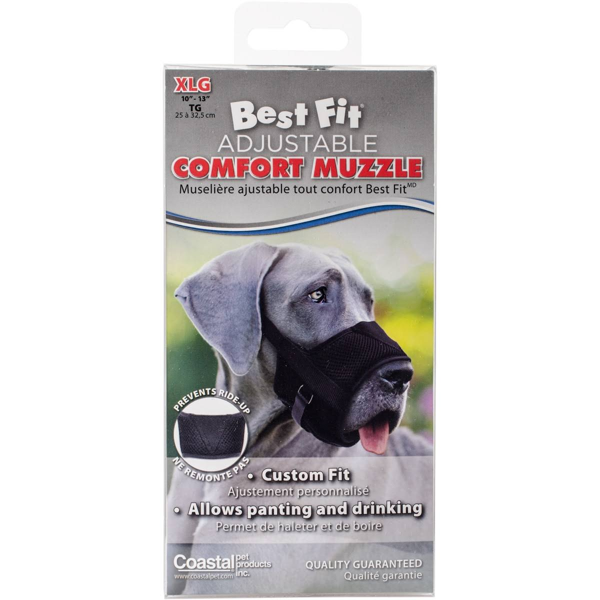 Best Fit Adjustable Comfort Dog Muzzle-Black, Snout Size 10 inch -13 inch