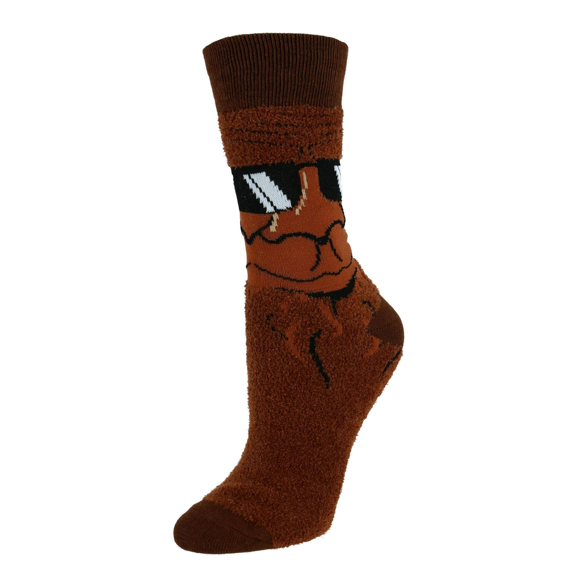 Two Left Feet Women's Super Soft Fuzzy Crew Socks - Brown Small