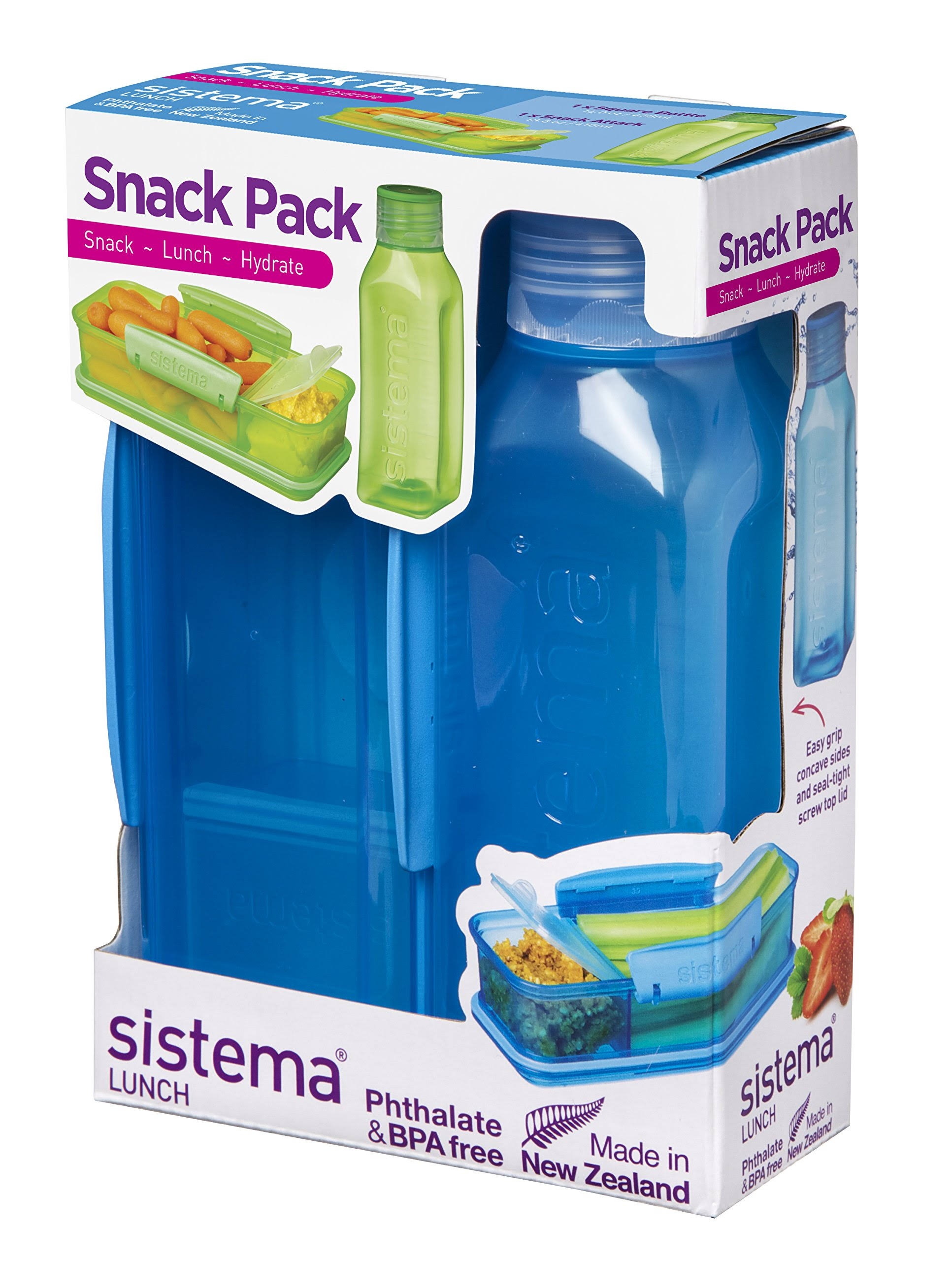 Sistema Snack Pack - with Water Bottle, Blue, 14.3cm x 6.3cm x 20.4cm