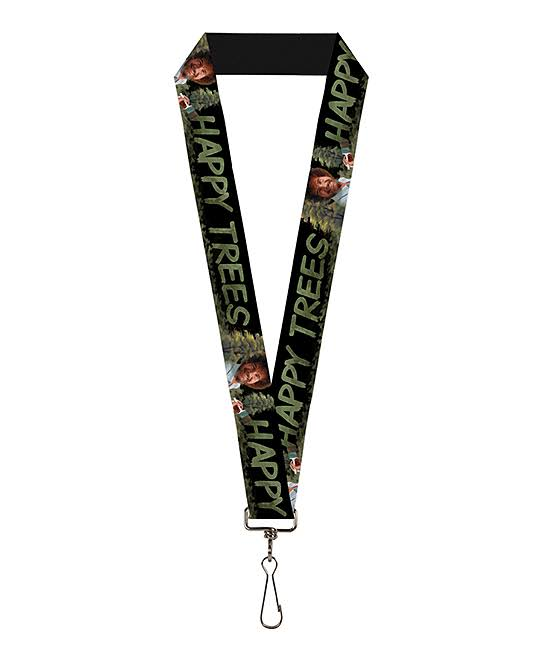 Buckle-Down Lanyard - Bob Ross Painting Pose/HAPPY Trees Black/Greens