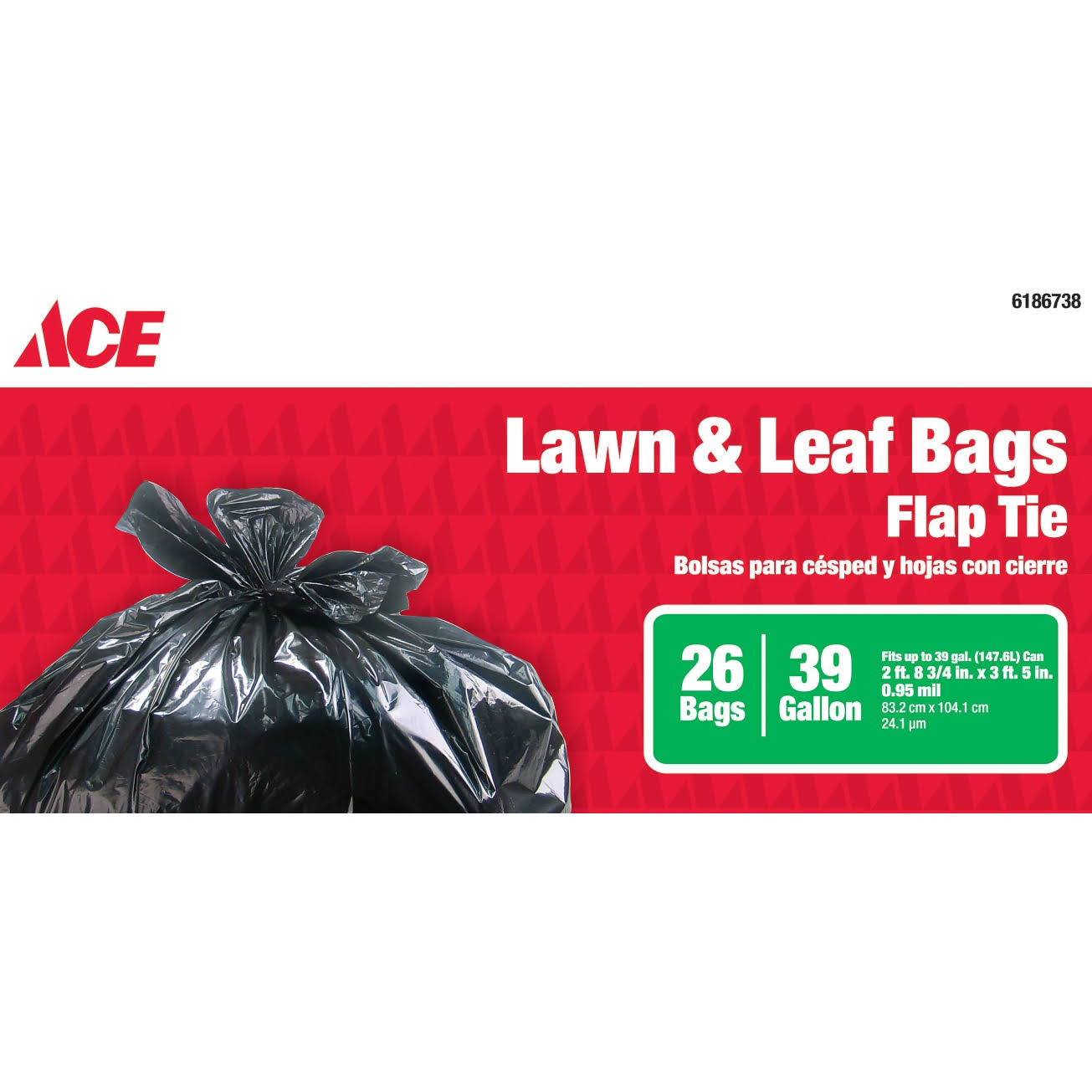 Ace Flap Tie Lawn and Leaf Bags - 39 Gallon, 26ct