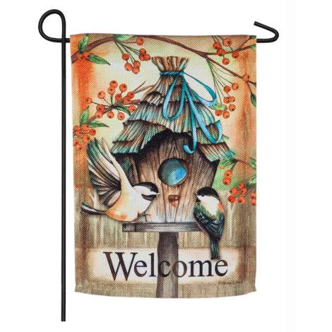 Evergreen Fall Birdhouse Garden Textured Suede Flag