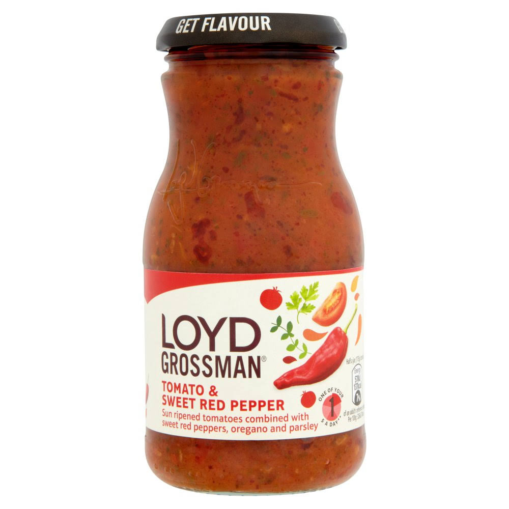 Loyd Grossman Tomato and Sweet Red Pepper Pasta Sauce - 350g
