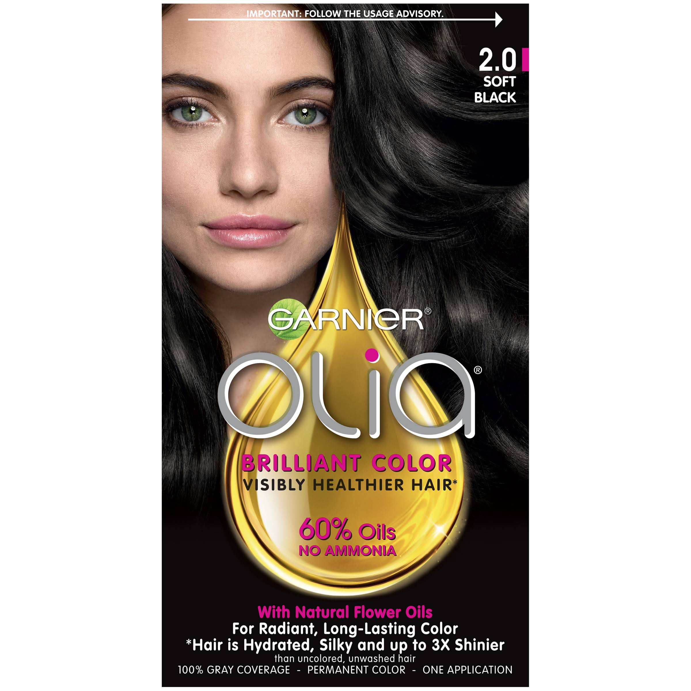 Garnier Olia Oil Powered Permanent Hair Color - 2.0 Soft Black