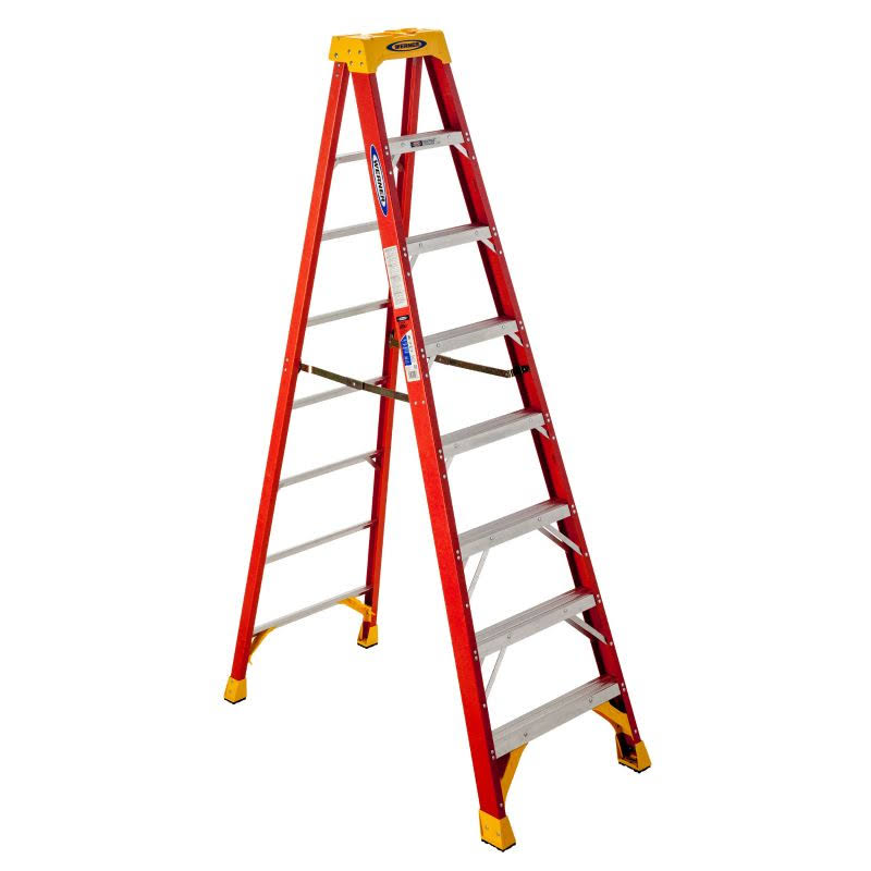 Werner Fiberglass Step Ladder with 300 lb. Load Capacity - 8ft