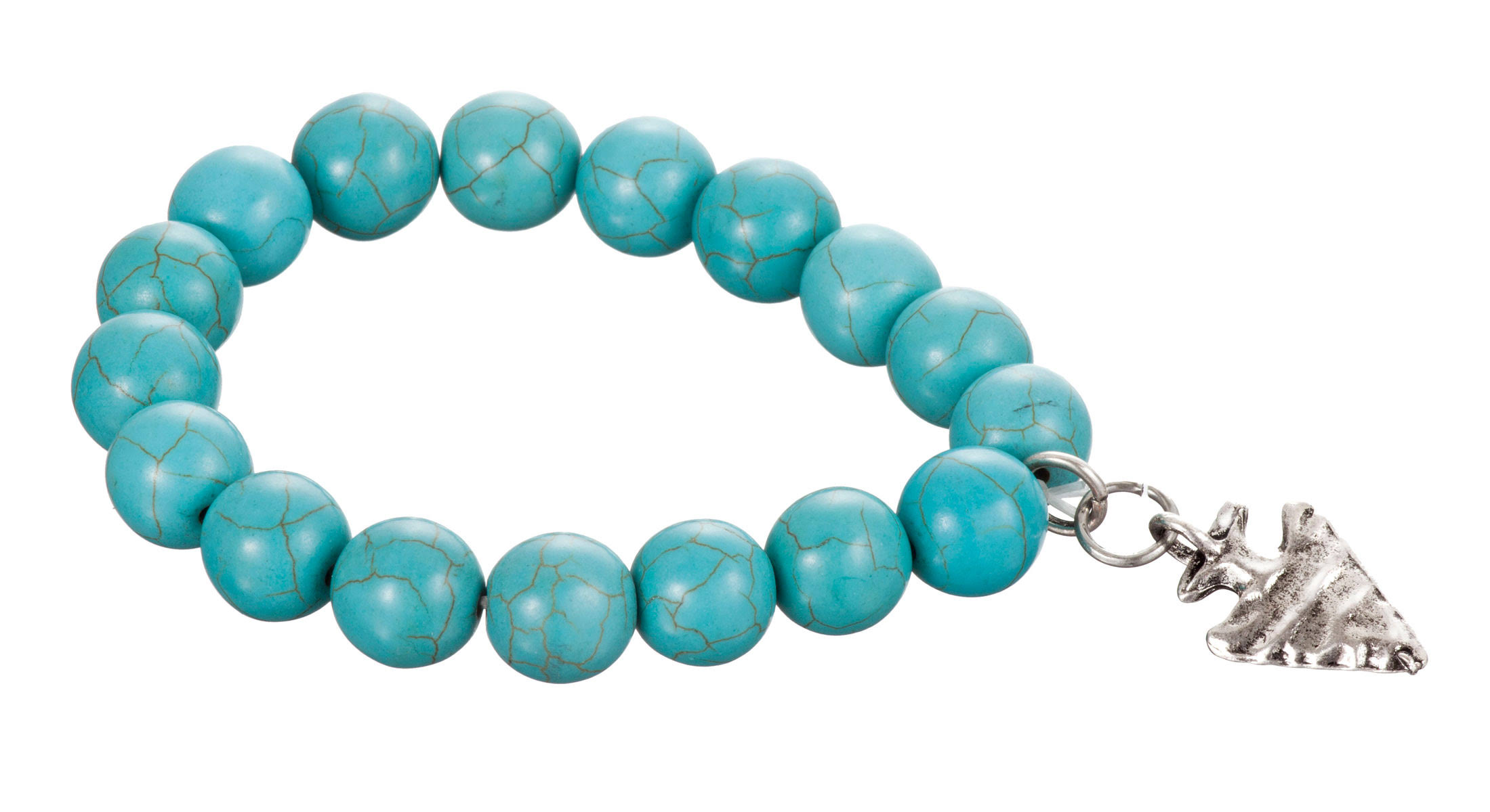West and Co. Round Faux Turquoise Beaded Stretch Bracelet, Silver