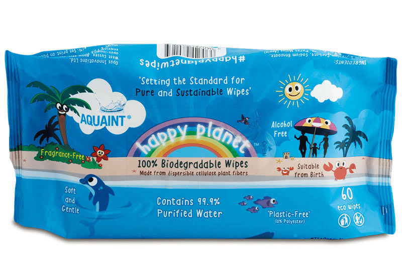 Happy Planet 100% Biodegradable Wipes 60 wipes