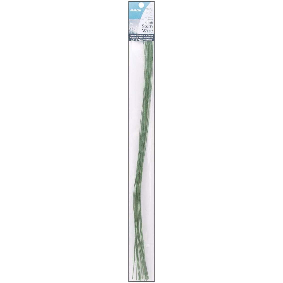 "Panacea Cloth Covered Stem Wire - Green, 26 Gauge, 18"", 20pcs"