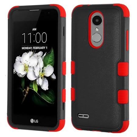 LG Aristo 2/Tribute Dynasty MYBAT Tuff Hybrid Protector Case-natural Black/Red