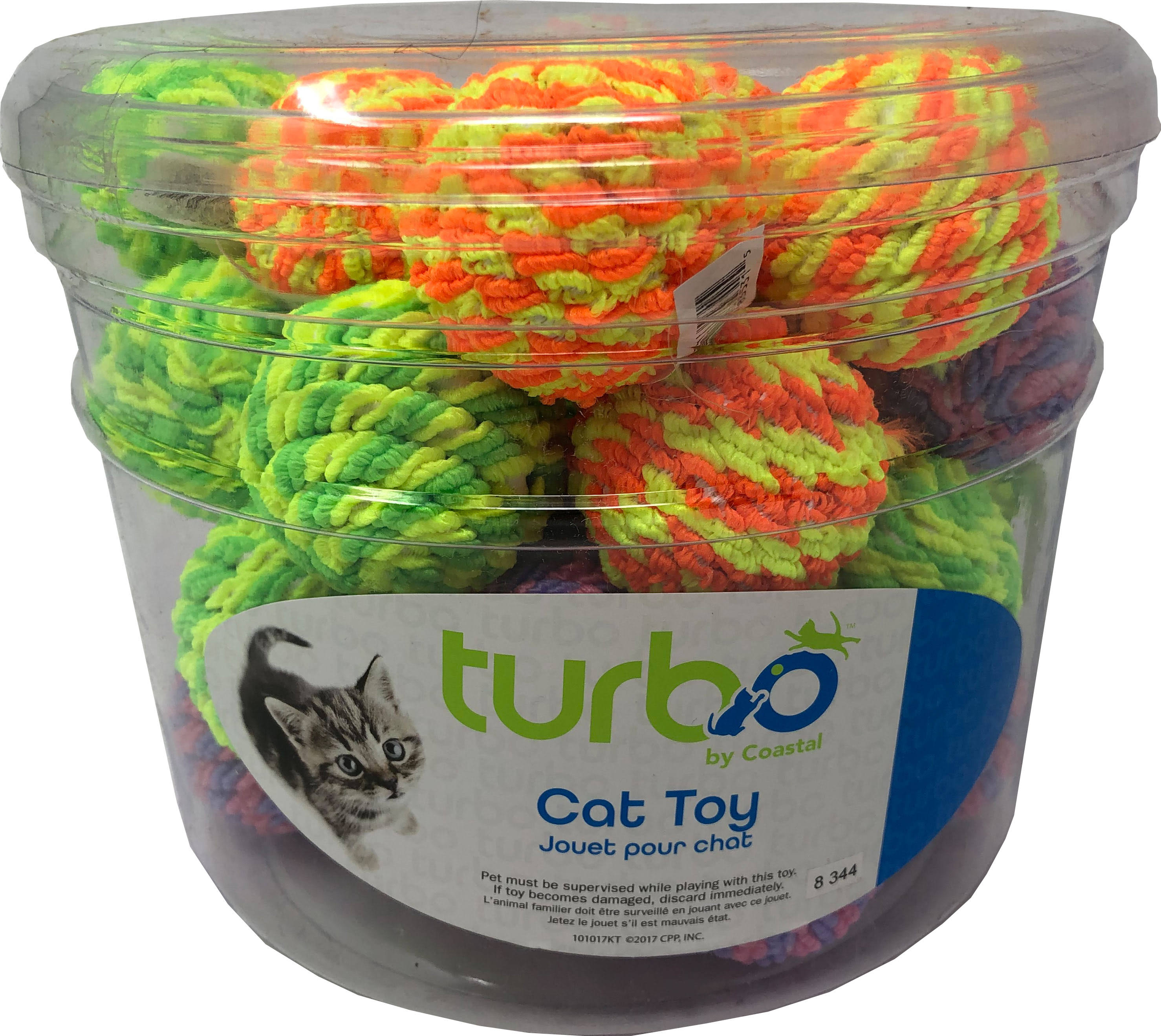 Coastal Pet Products 80521 NCLCAT Turbo Rattle Balls Cat Toy Canister - Multicolor 36 Piece - Pack of 8