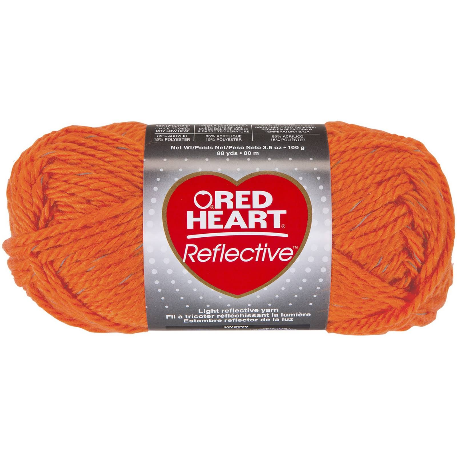 3 Red Heart Reflective Neon Orange Yarn