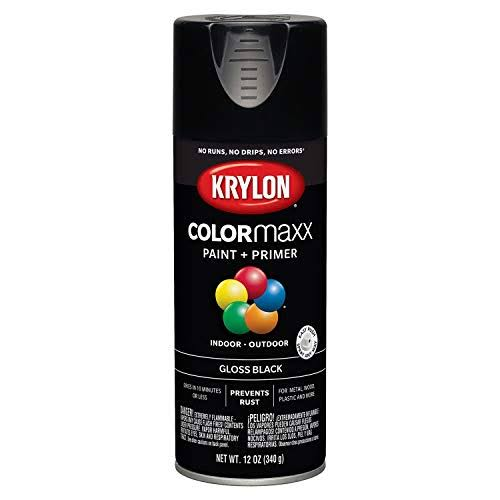 Krylon K05505007 COLORmaxx Spray Paint Gloss Black 12 Ounce