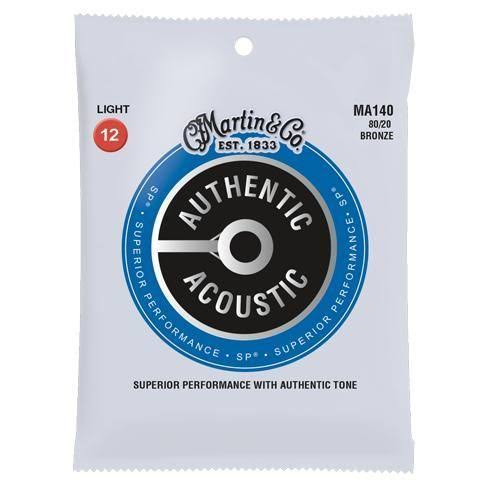 Martin Authentic MA140 80/20 Bronze Acoustic Guitar Strings, Light