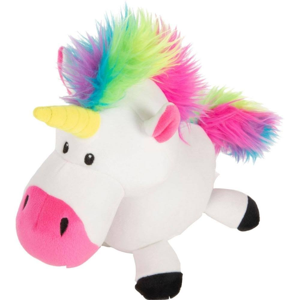 Godog Plush Unicorn Dog Toy, White Large