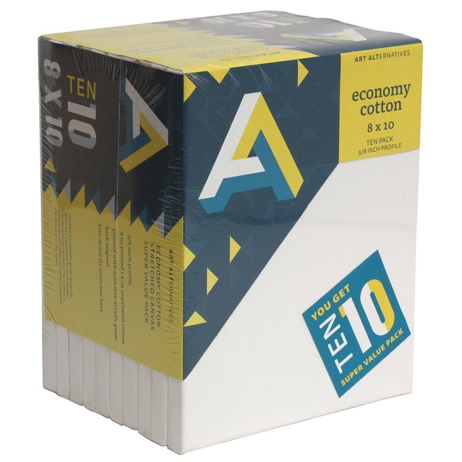 Art Alternatives Economy Super Value Canvas - 10 Pack, 8 x 10