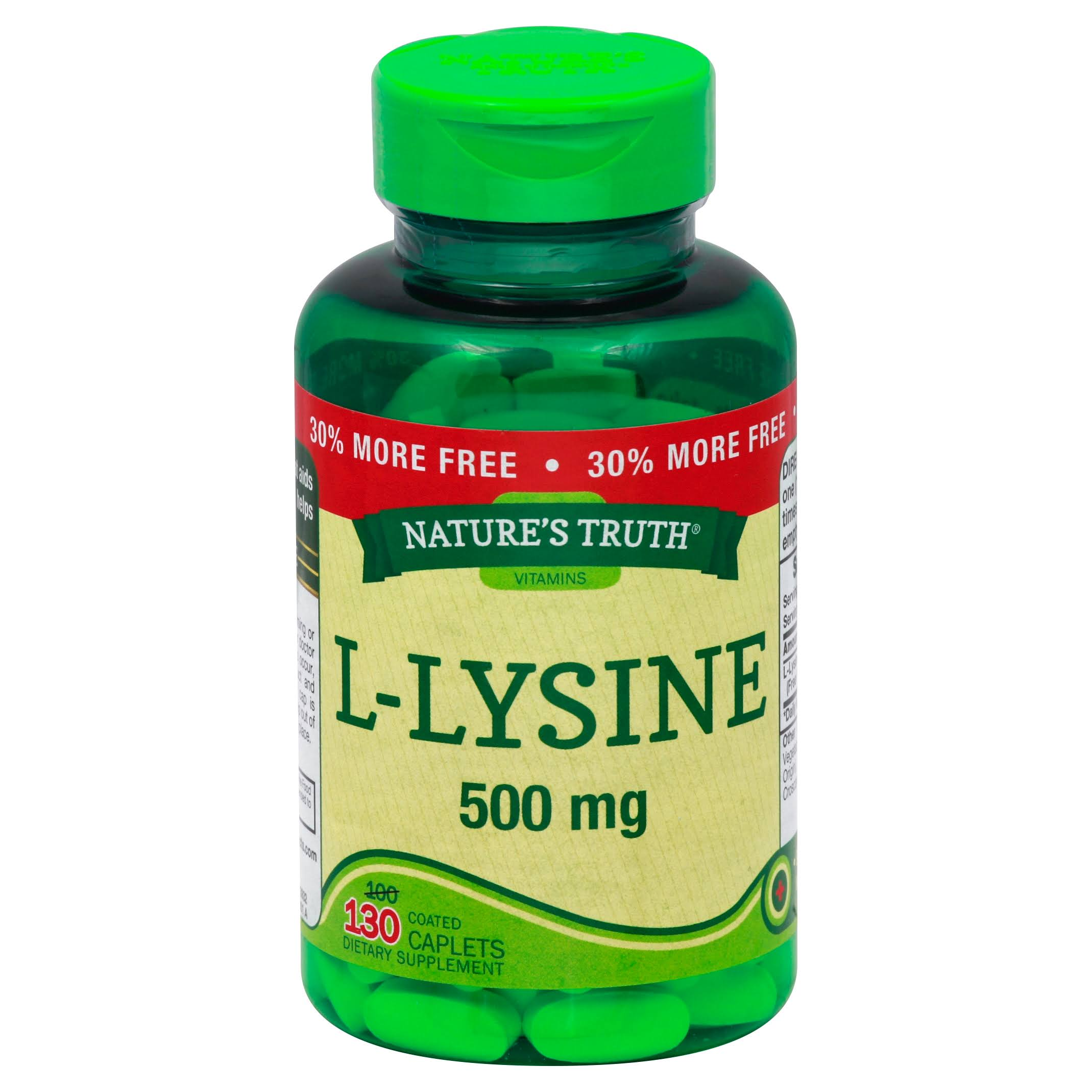 Natures Truth L-Lysine, 500 mg, Coated Caplets - 130 caplets