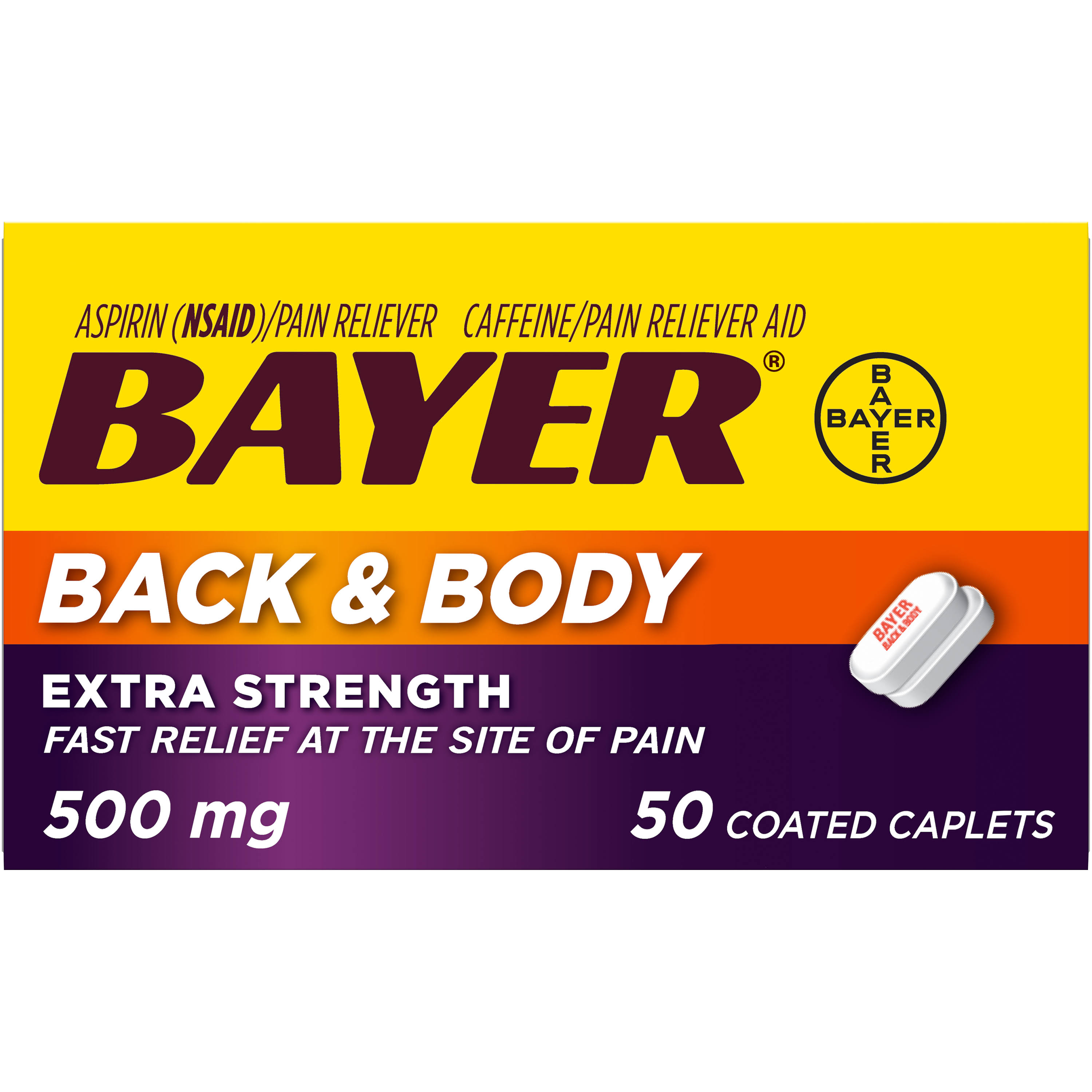 Bayer Asprin Back & Body Pain Reliever - Extra Strength, 50 Tablets