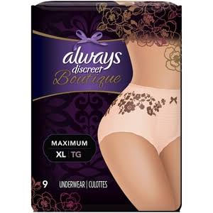 Always Discreet Women's Boutique Incontinence Underwear - Peach, XLarge, 9ct