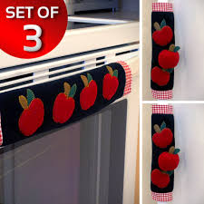 Apple Kitchen Decor Sets by Set Of 3 Kitchen Appliance Handle Covers W Apple Design Walmart Com