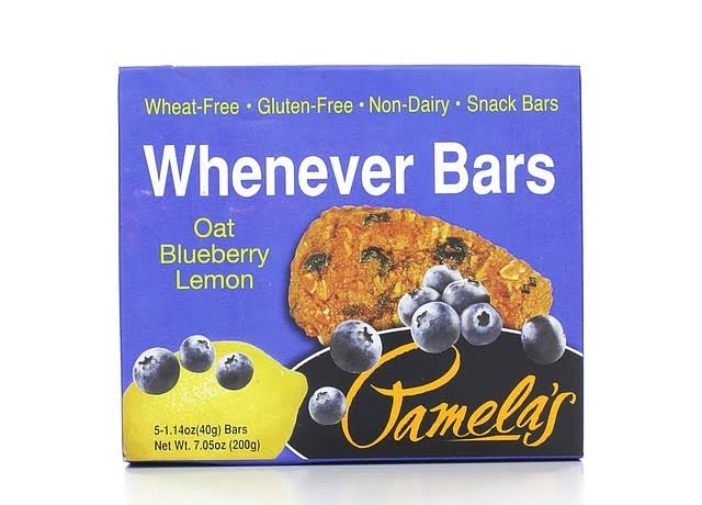 Pamela's Products Gluten Free Whenever Bars - Oat Blueberry Lemon, 5 Count Box