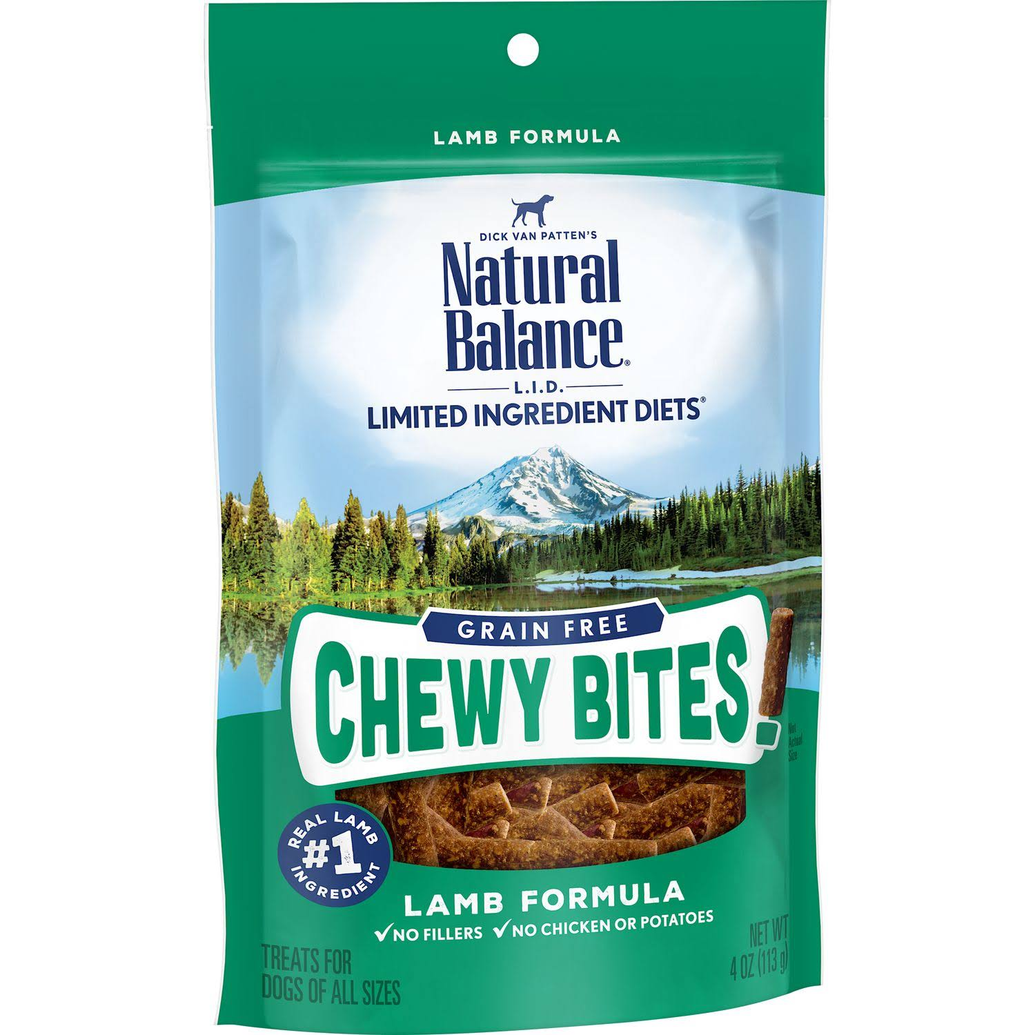 Natural Balance L.I.D. Limited Ingredient Diets Grain Free Chewy Bites Lamb Formula Dog Treats 4oz