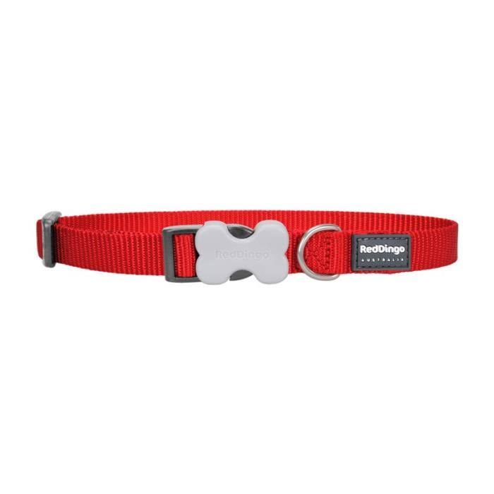Red Dingo Plain Dog Collar - Red, Small, 15mm x 24cm