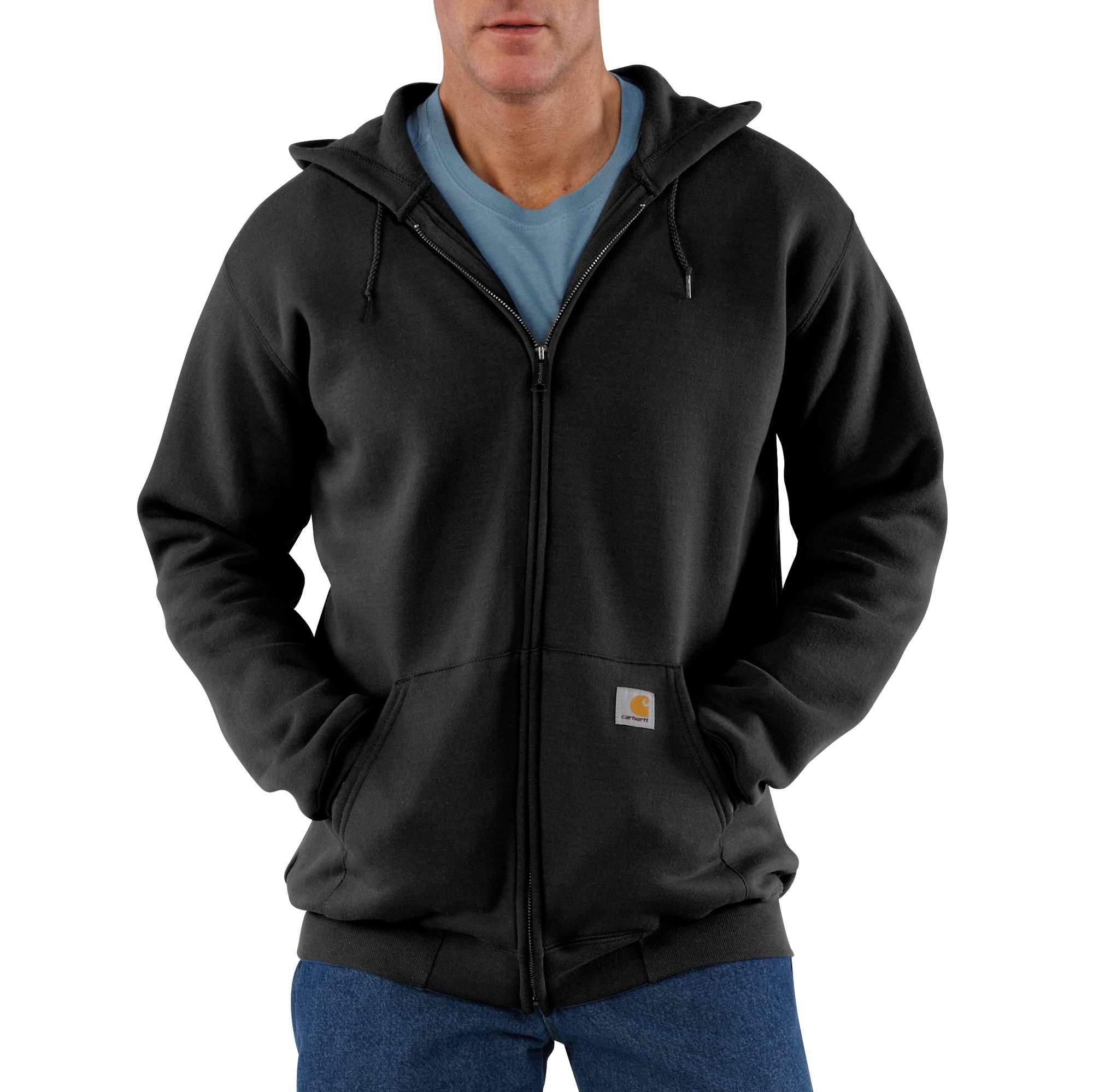 Carhartt Men's Midweight Sweatshirt Hooded Zip Front - Original Fit K122,black,large